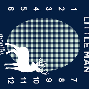 """42"""" - Little Man (Navy & Mint) w/ buck - watch me grow blanket"""