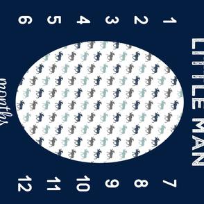 """42"""" - Little man (multi moose) navy, dusty blue - watch me grow blanket"""