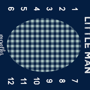 "42"" - Little man (navy&dusty blue) - watch me grow blanket"