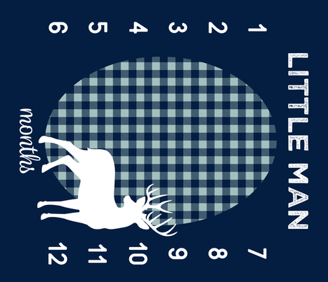 "42"" - Little Man Navy Plaid  (navy & dusty blue) w/ buck - watch me grow blanket  fabric by littlearrowdesign on Spoonflower - custom fabric"