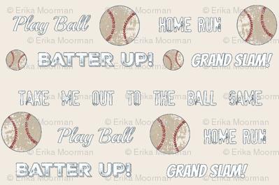 vintage cream worn  baseball and text  MEDIUM84