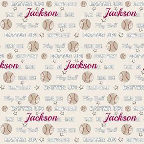 vintage cream worn  baseball  stars and text  LARGE986PB - PERSONALIZED Jackson