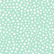 Polka dots white on mint background