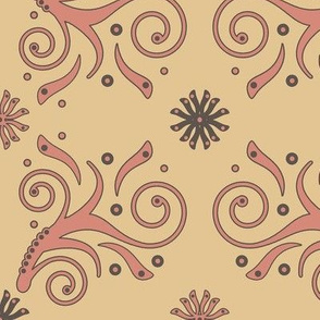 Flourish Pattern in pink, taupe, straw