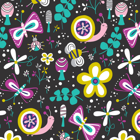 Happy Critters - Black  fabric by heatherdutton on Spoonflower - custom fabric
