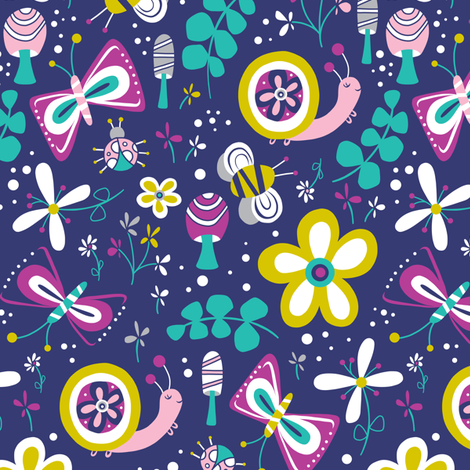 Happy Critters - Blue / Purple fabric by heatherdutton on Spoonflower - custom fabric
