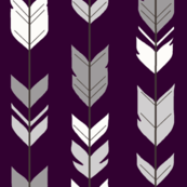 Arrow Feathers - Plum and Grey - purple, eggplant