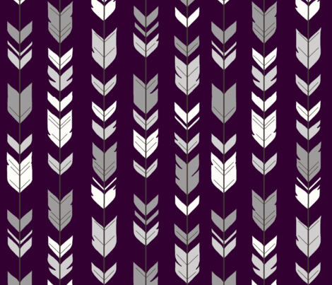 Arrow Feathers - Plum and Grey - purple, eggplant fabric by sugarpinedesign on Spoonflower - custom fabric