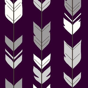 Arrow Feathers - Plum and Grey - purple, eggplant