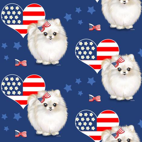 Patriotic_Pomeranian_Love M fabric by catialee on Spoonflower - custom fabric