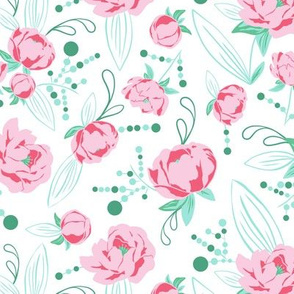 Ella - Peony Floral White & Pink