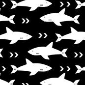 sharks fabric black and white shark design