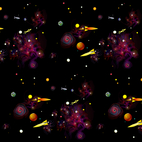 nebula rockets stars planets mix 2 fabric by combatfish on Spoonflower - custom fabric