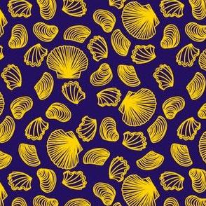 Seashells (yellow on purple)