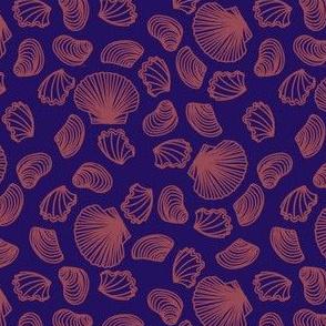 Seashells (dark mauve on purple)