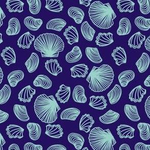 Seashells (light teal on purple)