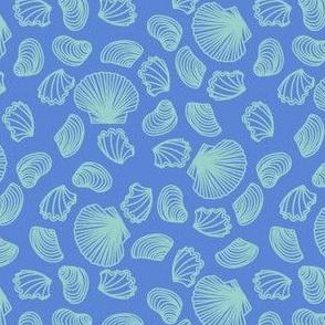 Seashells (light teal on mid blue)