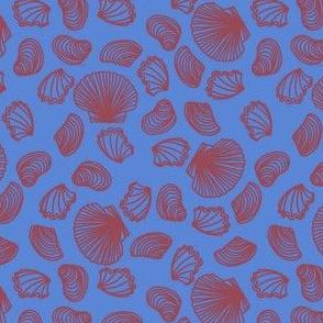 Seashells (dark mauve on mid blue)