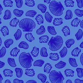 Seashells (blue on mid blue)