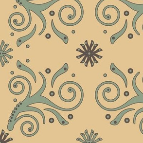 Flourish Pattern in sage green, straw and taupe