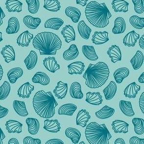 Seashells (dark teal on light teal)