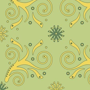 Flourish Pattern in green and yellow
