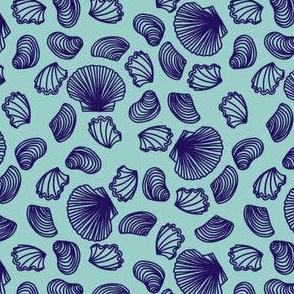Seashells (purple on light teal)