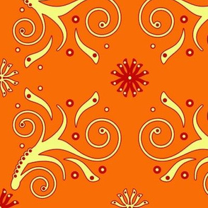 Flourish Pattern in orange and yellow