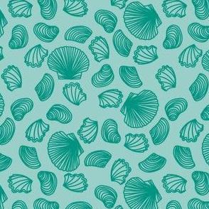 Seashells (teal on light teal)