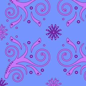 Flourish Pattern in blue, pink and purple