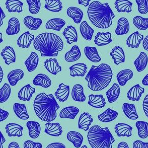 Seashells (blue on light teal)