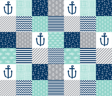 Nautical cheater quilt nursery baby fabric for Nautical nursery fabric