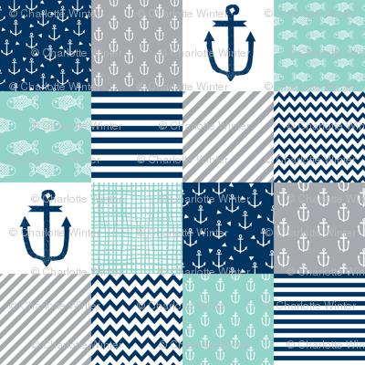 nautical cheater quilt nursery baby