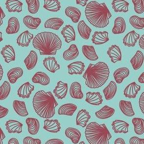 Seashells (dark mauve on light teal)