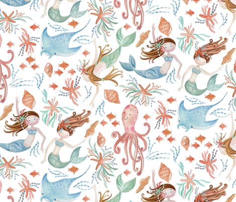 sweet mermaids fabric by cjldesigns on Spoonflower - custom fabric