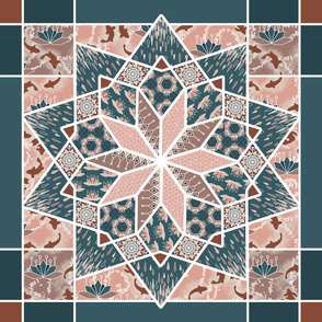 Star Quilt Squares in Peach and Blue, Wholecloth Quilt by Amborela