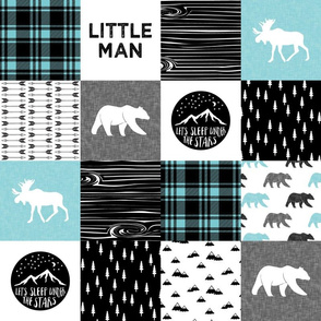 """4"""" small scale - Little man & Happy Camper patchwork wholecloth 