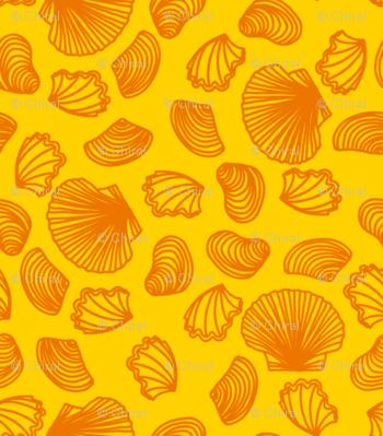Seashells (orange on yellow)