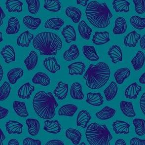 Seashells (purple on dark teal)