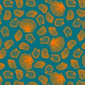 Seashells (orange on dark teal)