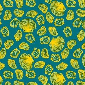 Seashells (yellow on dark teal)