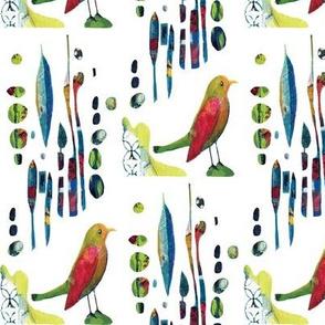 Still Bird in Abstract Garden