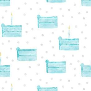 birthday cake fabric - blue