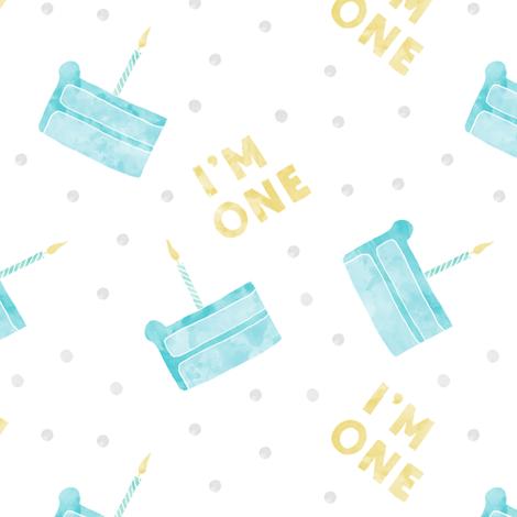 birthday cake - I'm one - blue fabric by littlearrowdesign on Spoonflower - custom fabric