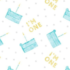 birthday cake - I'm one - blue