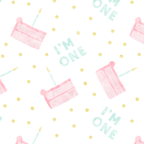birthday cake - I'm one - pink fabric by littlearrowdesign on Spoonflower - custom fabric