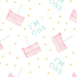 birthday cake - I'm one - pink