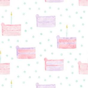 birthday cake fabric (pink & purple)