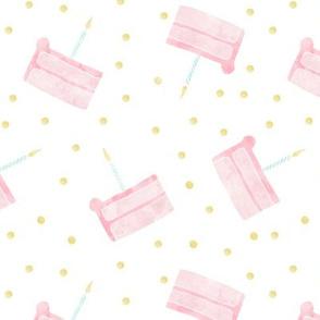 single slice birthday cake - pink