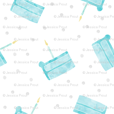 single slice birthday cake - blue
